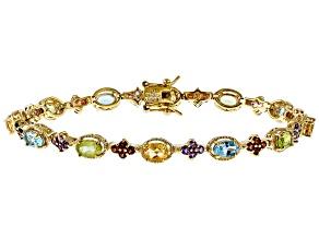Blue Topaz 18k Yellow Gold Over Sterling Silver Bracelet 7.63ctw