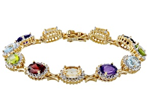 Blue Topaz 18k Yellow Gold Over Sterling Silver Bracelet 14.83ctw