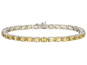 Yellow Brazilian Citrine Tennis Rhodium Over Sterling Silver Bracelet.12.47ctw