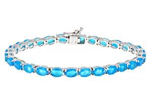 Blue Opal Rhodium Over Sterling Silver Tennis Bracelet 7.20ctw