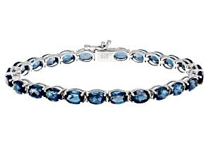 London Blue Topaz Rhodium Over Sterling Silver Tennis Bracelet 13.50ctw
