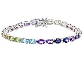 Multi-Color Multi Gemstone Platinum Over Sterling Silver Tennis Bracelet 12.41ctw