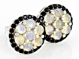 Ethiopian Opal Rhodium Over Sterling Silver Stud Earrings .25ctw