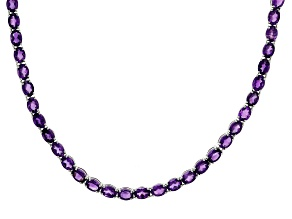 Amethyst Rhodium Over Sterling Silver Tennis Necklace 45.00ctw