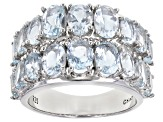 Aquamarine Rhodium Over Sterling Silver Band Ring 5.30ctw