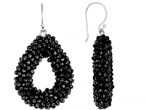 Black Spinel Sterling Silver Drop Earrings 40.00ctw