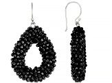 Black Spinel Sterling Silver Drop Earrings 40ctw