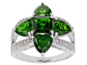 Chrome Diopside Rhodium Over Sterling Silver Ring 5.09ctw