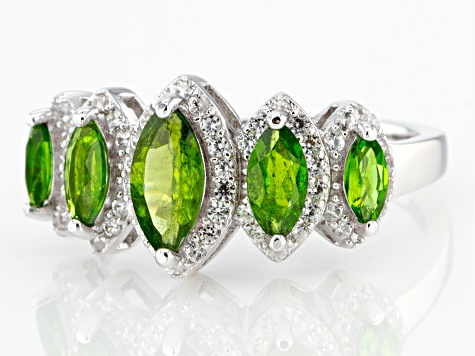 Chrome Diopside Rhodium Over Sterling Silver Ring 1.97ctw