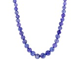 Tanzanite Bead Rhodium Over Sterling Silver Necklace 130ctw