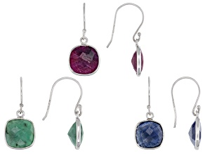 Ruby, Sapphire and Emerald Rhodium Over Sterling Silver Set of 3 Earrings 16.00ctw