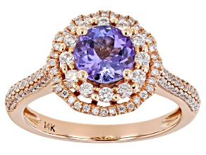 Blue Tanzanite 14k Rose Gold Ring 1.50ctw