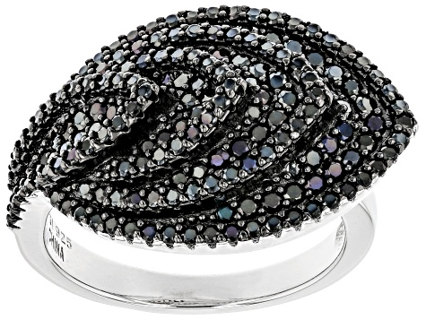 Black Spinel Rhodium Over Sterling Silver 1.66ctw
