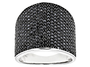 Black Spinel Rhodium Over Sterling Silver Cluster Ring 2.75ctw