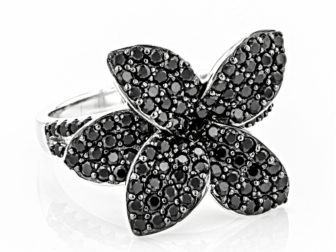 Black Spinel Rhodium Over Sterling Silver Ring 1.92ctw