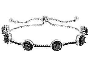 Black Spinel Rhodium Over Sterling Silver Bolo Bracelet 3.74ctw