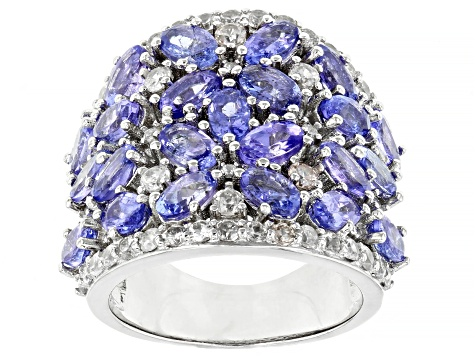 Tanzanite Rhodium Over Sterling Silver Ring 5.75ctw