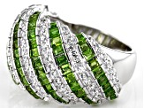 Chrome Diopside Rhodium Over Sterling Silver Ring 2.35ctw