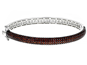 Red Garnet Rhodium Over Sterling Silver Bangle Bracelet 7.50ctw