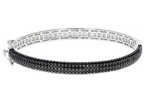 Black Spinel  Rhodium Over Sterling Silver Bangle Bracelet 7.50ctw
