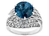Blue Topaz Rhodium Over Sterling Silver Ring 5.88ctw