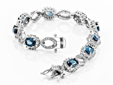Blue Topaz Rhodium Over Sterling Silver Bracelet 11.68ctw