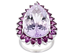 Pink Amethyst Rhodium Over Sterling Silver Ring 23.90ctw
