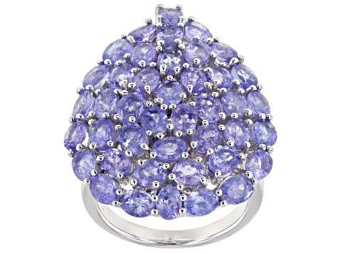 Tanzanite Rhodium Over Sterling Silver Ring 8.07ctw