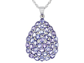 Tanzanite Rhodium Over Sterling Silver Pendant With Chain 8.00ctw