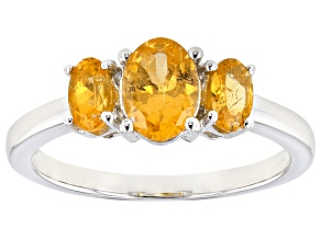 Orange Mandarin Garnet 3- Stone Rhodium Over Sterling Silver Ring 1.19ctw