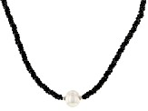 Black Spinel Rhodium Over Sterling Silver Necklace Approximately 50ctw