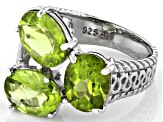 Peridot Rhodium Over Sterling Silver 3-Stone Ring  5.00ctw