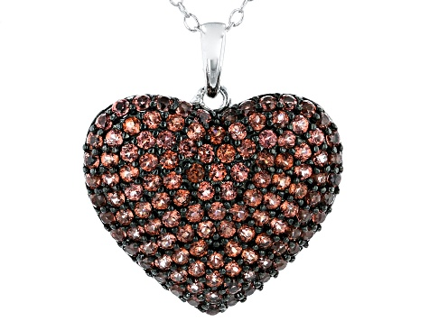 Red Garnet Rhodium Over Sterling Silver Heart Pendant With Chain 1.75ctw