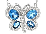 London Blue Topaz Rhodium Over Silver Butterfly Necklace 4.35ctw