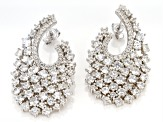 White Zircon Rhodium Over Sterling Silver Earrings 10.00ctw