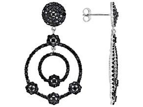 Black Spinel Rhodium Over Silver Earrings 6.37ctw