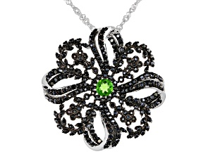 Black Spinel Rhodium Over Sterling Silver Slide With Chain 2.92ctw