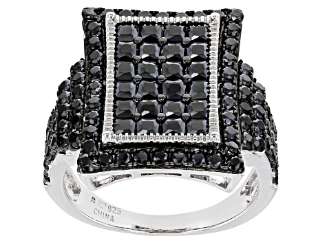Black Spinel Rhodium Over Sterling Silver Ring 3.25ctw