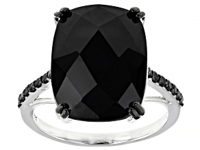 Black Spinel Rhodium Over Sterling Silver Ring 12.26ctw
