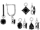 Black Spinel Rhodium Over Sterling Silver Interchangeable Earrings Set of 4 12.41ctw