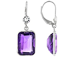 Amethyst Rhodium Over Sterling Silver Earrings 13.00ctw