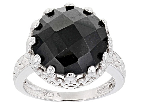 Black Spinel Rhodium Over Sterling Silver Ring 11.00ctw