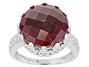 Ruby Rhodium Over Sterling Silver Solitaire Ring 10.00ctw