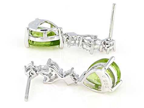 Peridot Rhodium Over Sterling Silver Dangle Earrings 8.00ctw