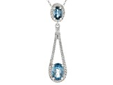 London Blue Topaz Rhodium Over Sterling Silver Pendant W/ Chain 2.80ctw