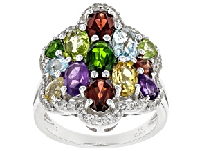Multi-Stone Rhodium Over Sterling Silver Ring 4.30ctw