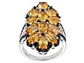 Yellow Citrine Rhodium Over Sterling Silver Ring 5.35ctw