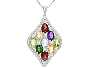 Multi Gem Rhodium Over sterling Silver Pendant With Chain 6.86ctw