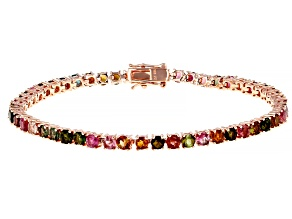 Multi Tourmaline  Pink Rhodium Over Silver Bracelet 6.00ctw