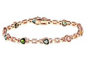 Multi Tourmaline Pink Rhodium Over Silver Sterling Bracelet  5.70ctw